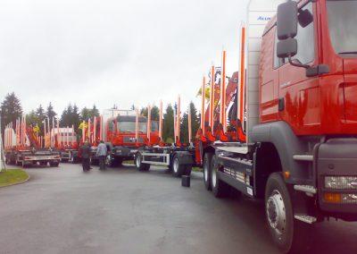 Mehrere LKW Nutzfahrzeuge im Kurzholzaufbau mit Ladekran von Grimm und Partner Fahrzeugbau