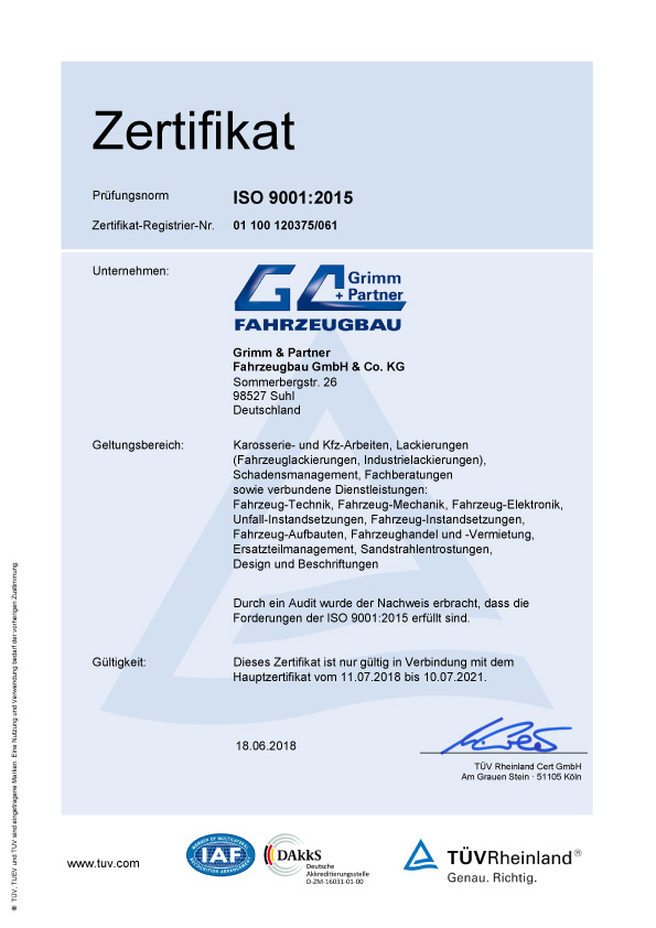 Zertifikat Qualitätsmanagement nach DIN EN ISO 9001 der Grimm und Partner Fahrzeugbau GmbH
